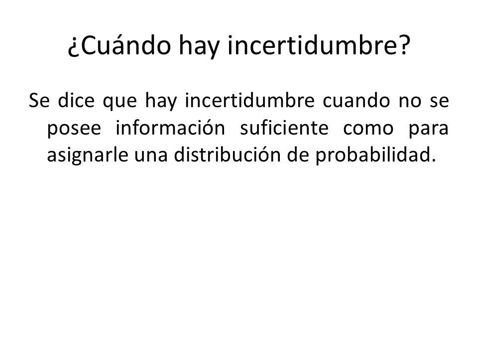 Se dice que hay incertidumbre cuando no se posee información suficiente como para asignarle una distribución de probabilidad. ¿Cuándo hay incertidumbr