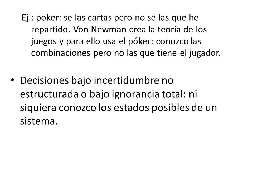 Ej.: poker: se las cartas pero no se las que he repartido. Von Newman crea la teoría de los juegos y para ello usa el póker: conozco las combinaciones