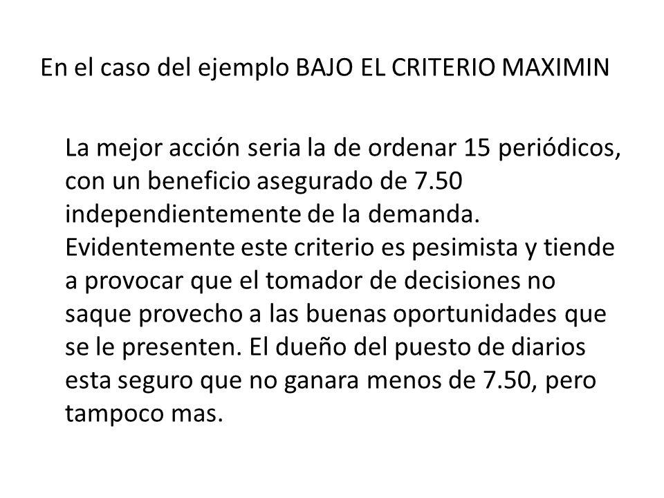En el caso del ejemplo BAJO EL CRITERIO MAXIMIN La mejor acción seria la de ordenar 15 periódicos, con un beneficio asegurado de 7.50 independientemen