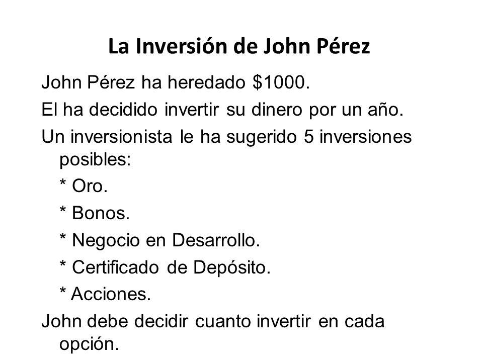 John Pérez ha heredado $1000. El ha decidido invertir su dinero por un año. Un inversionista le ha sugerido 5 inversiones posibles: * Oro. * Bonos. *