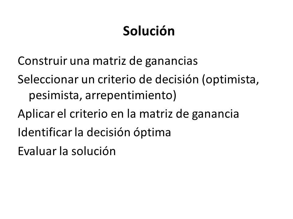 Construir una matriz de ganancias Seleccionar un criterio de decisión (optimista, pesimista, arrepentimiento) Aplicar el criterio en la matriz de gana