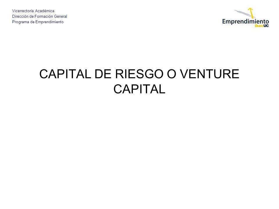 Vicerrectoría Académica Dirección de Formación General Programa de Emprendimiento CAPITAL DE RIESGO O VENTURE CAPITAL