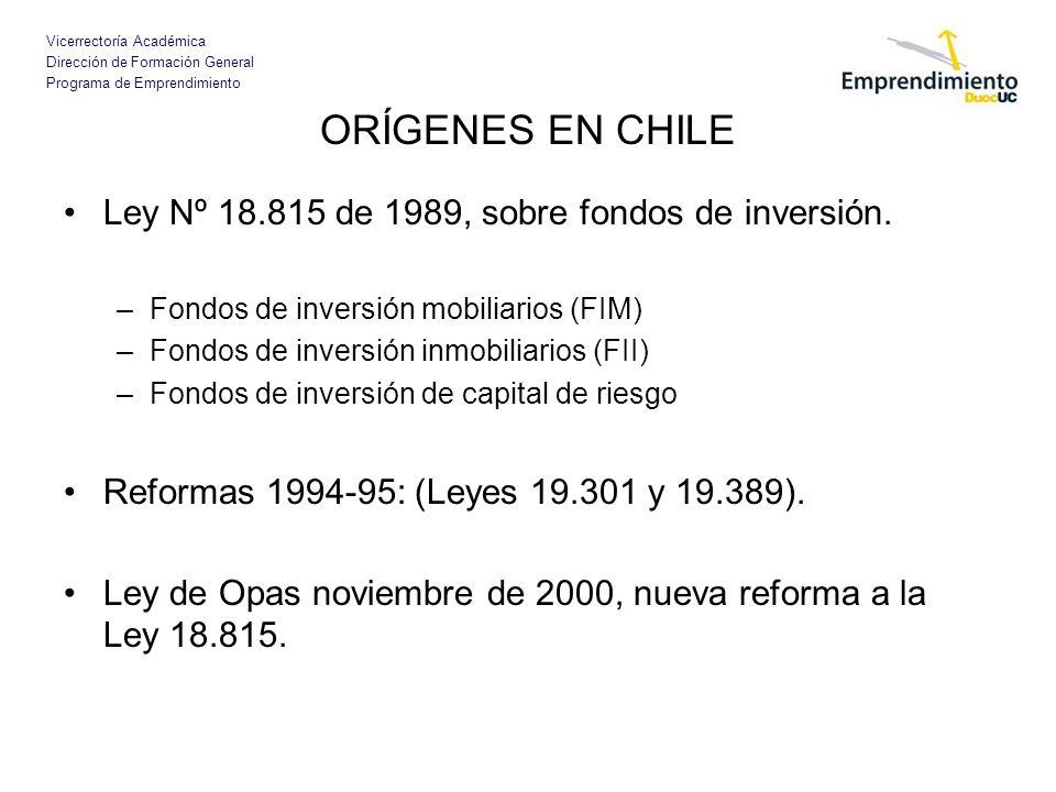 Vicerrectoría Académica Dirección de Formación General Programa de Emprendimiento ORÍGENES EN CHILE Ley Nº 18.815 de 1989, sobre fondos de inversión.
