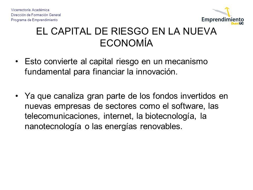 Vicerrectoría Académica Dirección de Formación General Programa de Emprendimiento EL CAPITAL DE RIESGO EN LA NUEVA ECONOMÍA Esto convierte al capital