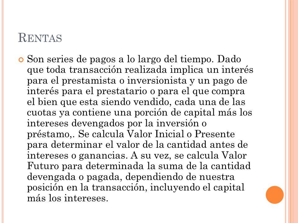 TIPOS DE RENTAS Existen diferentes clasificaciones para las rentas, pues hay variaciones en su evolución.