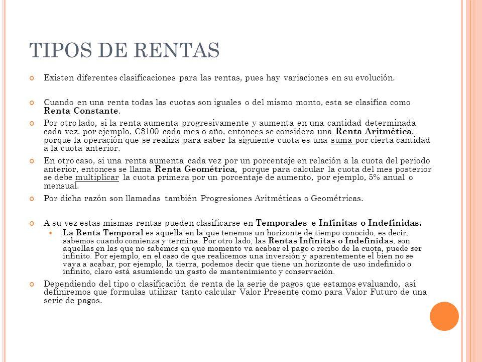 R ENTAS CONSTANTES Temporales VP = R (1+r)^t – 1 r(1+r)^t VF = R (1+r)^t – 1 r Indefinidas VP = R r VF =