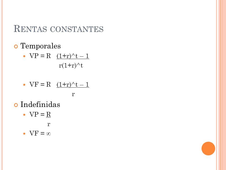 RENTAS ARITMETICAS Temporales VP = (1+r)^t – 1 R+a - a x t r (1+r)^t r r(1+r)^t VF = (1+r)^t – 1 R+a - a x t r r r Indefinidas VP = R + a r r² VF =
