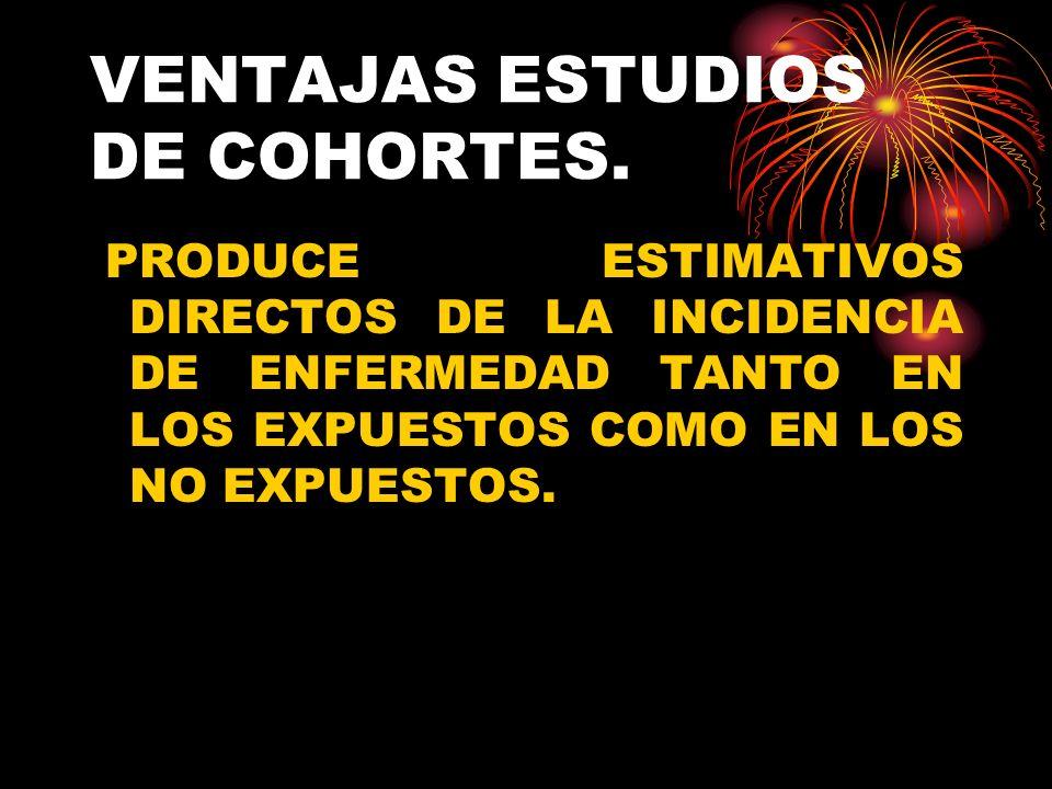 DESVENTAJAS DE LOS ESTUDIOS DE COHORTES.