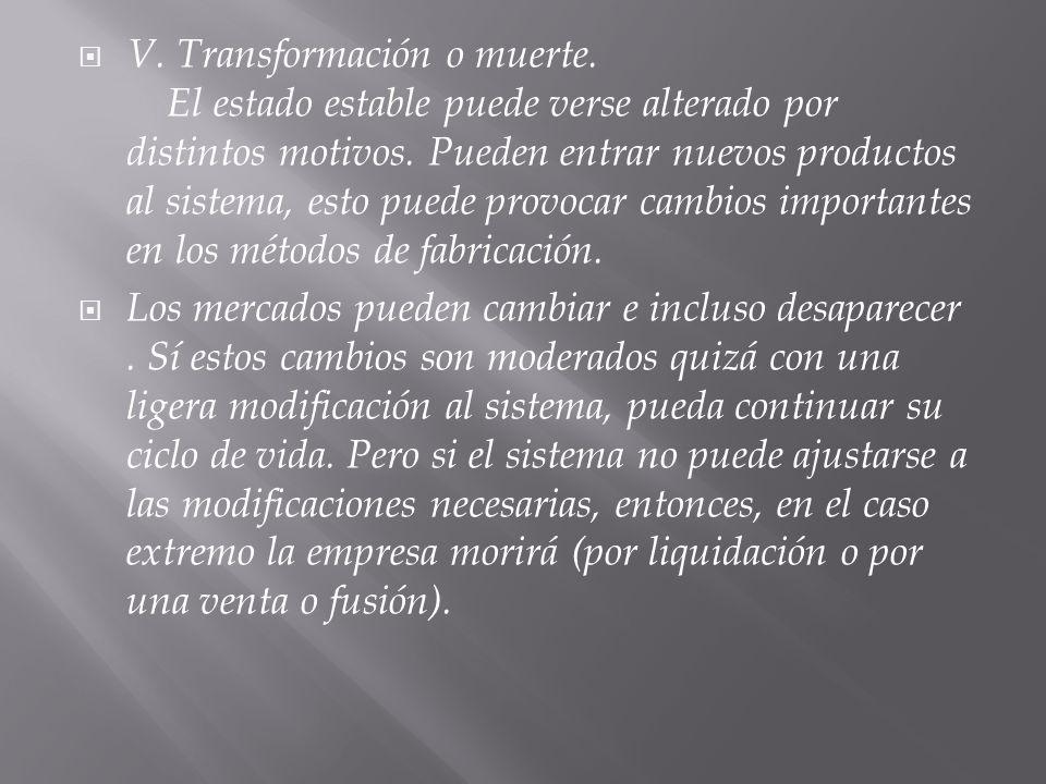 V. Transformación o muerte. El estado estable puede verse alterado por distintos motivos.