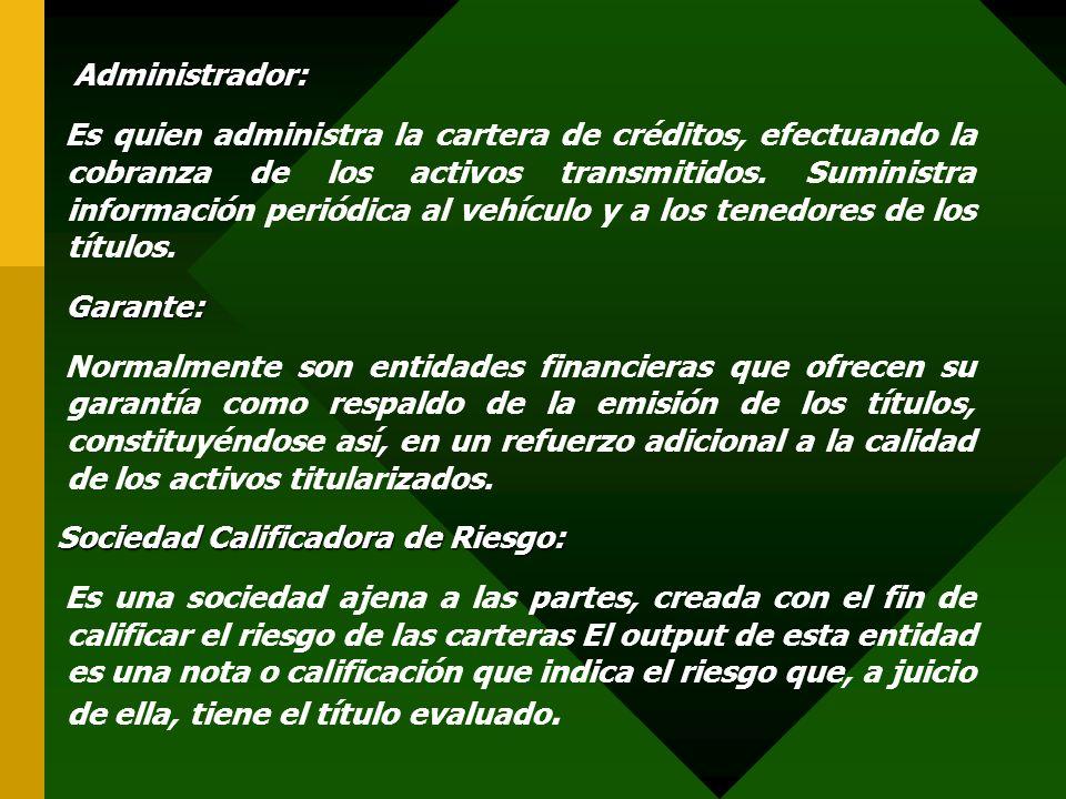 Administrador: Administrador: Es quien administra la cartera de créditos, efectuando la cobranza de los activos transmitidos. Suministra información p