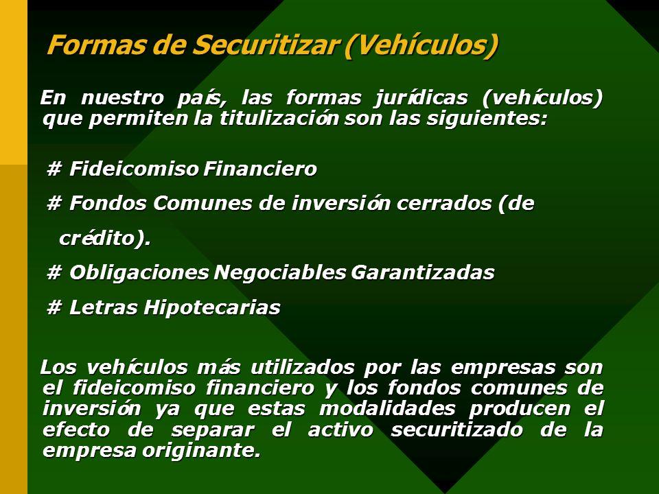 Formas de Securitizar (Vehículos) Formas de Securitizar (Vehículos) En nuestro pa í s, las formas jur í dicas (veh í culos) que permiten la titulizaci