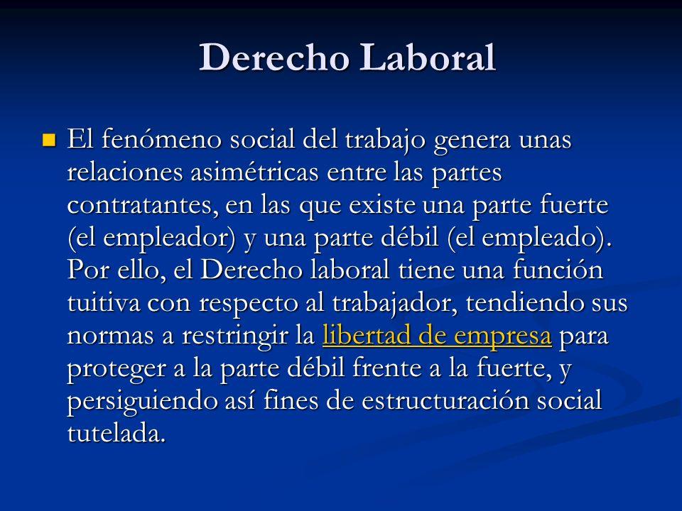 Derecho Laboral El fenómeno social del trabajo genera unas relaciones asimétricas entre las partes contratantes, en las que existe una parte fuerte (el empleador) y una parte débil (el empleado).
