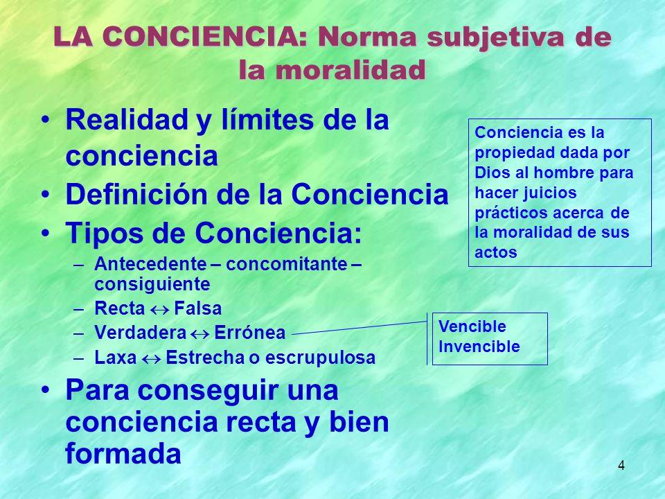 4 Realidad y límites de la conciencia Definición de la Conciencia Tipos de Conciencia: –Antecedente – concomitante – consiguiente –Recta Falsa –Verdad