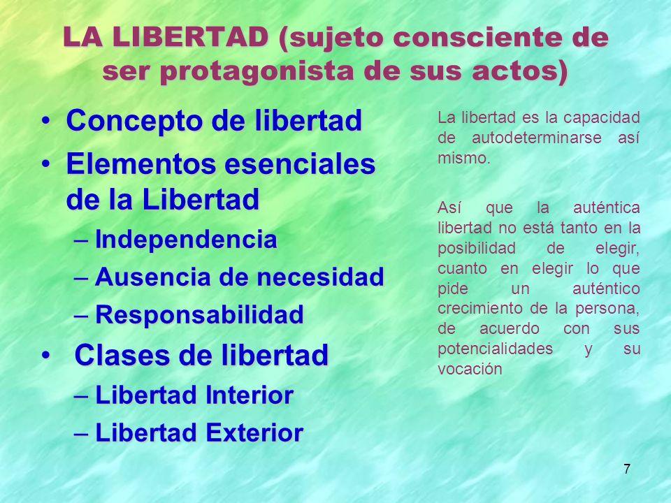 7 Concepto de libertadConcepto de libertad Elementos esenciales de la LibertadElementos esenciales de la Libertad –Independencia –Ausencia de necesida
