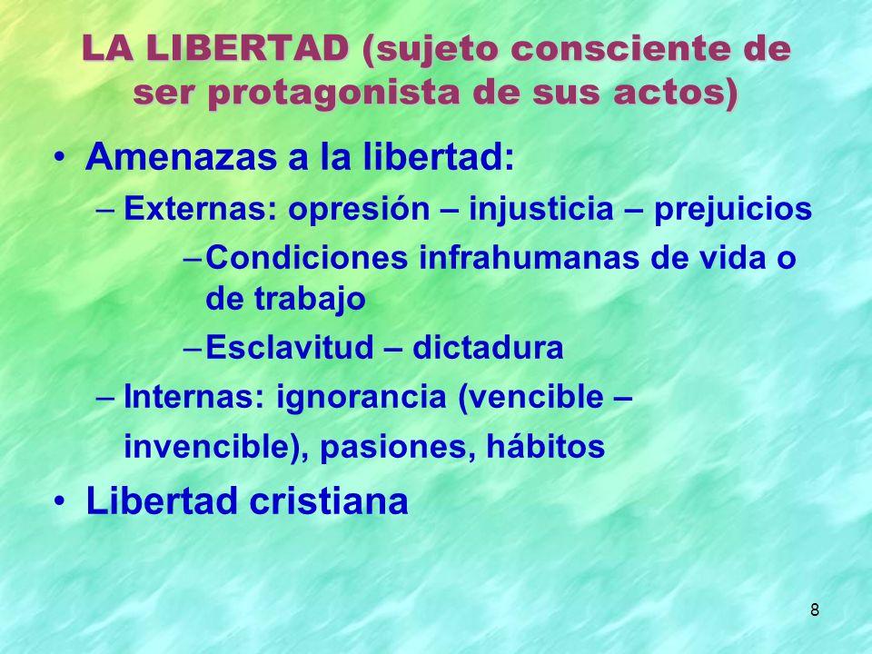 8 Amenazas a la libertad: –Externas: opresión – injusticia – prejuicios –Condiciones infrahumanas de vida o de trabajo –Esclavitud – dictadura –Intern
