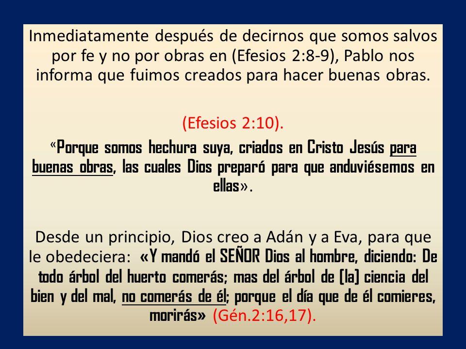 Inmediatamente después de decirnos que somos salvos por fe y no por obras en (Efesios 2:8-9), Pablo nos informa que fuimos creados para hacer buenas o