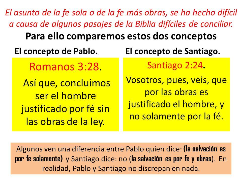 El asunto de la fe sola o de la fe más obras, se ha hecho difícil a causa de algunos pasajes de la Biblia difíciles de conciliar. Para ello comparemos