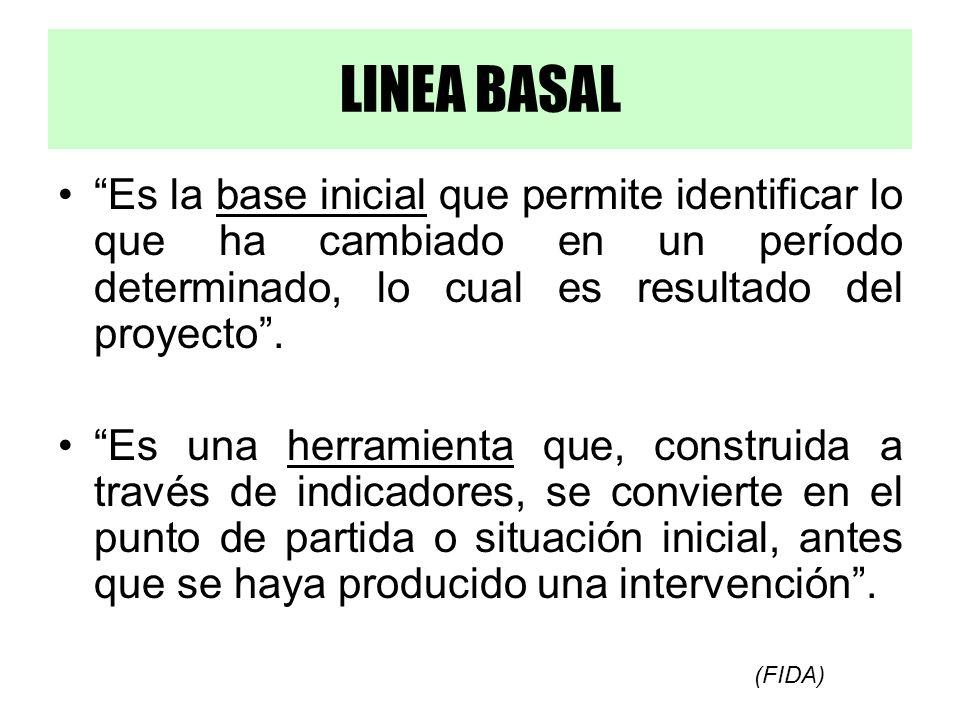 LINEA BASAL Es la base inicial que permite identificar lo que ha cambiado en un período determinado, lo cual es resultado del proyecto. Es una herrami