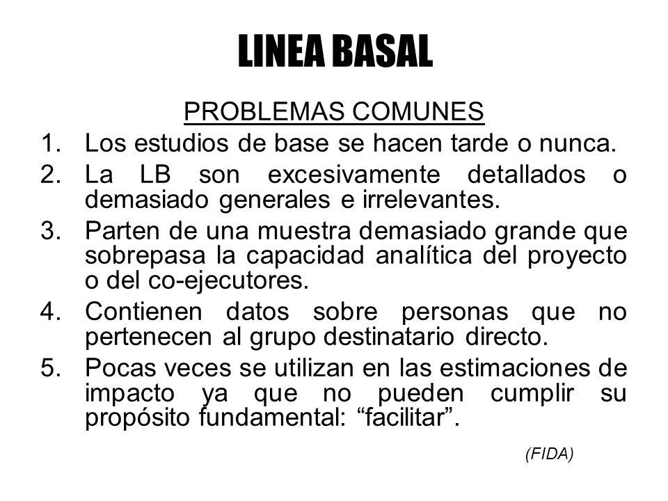 LINEA BASAL PROBLEMAS COMUNES 1.Los estudios de base se hacen tarde o nunca. 2.La LB son excesivamente detallados o demasiado generales e irrelevantes