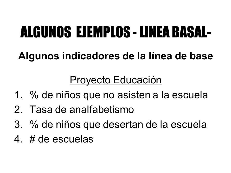 ALGUNOS EJEMPLOS - LINEA BASAL- Algunos indicadores de la línea de base Proyecto Educación 1.% de niños que no asisten a la escuela 2.Tasa de analfabe