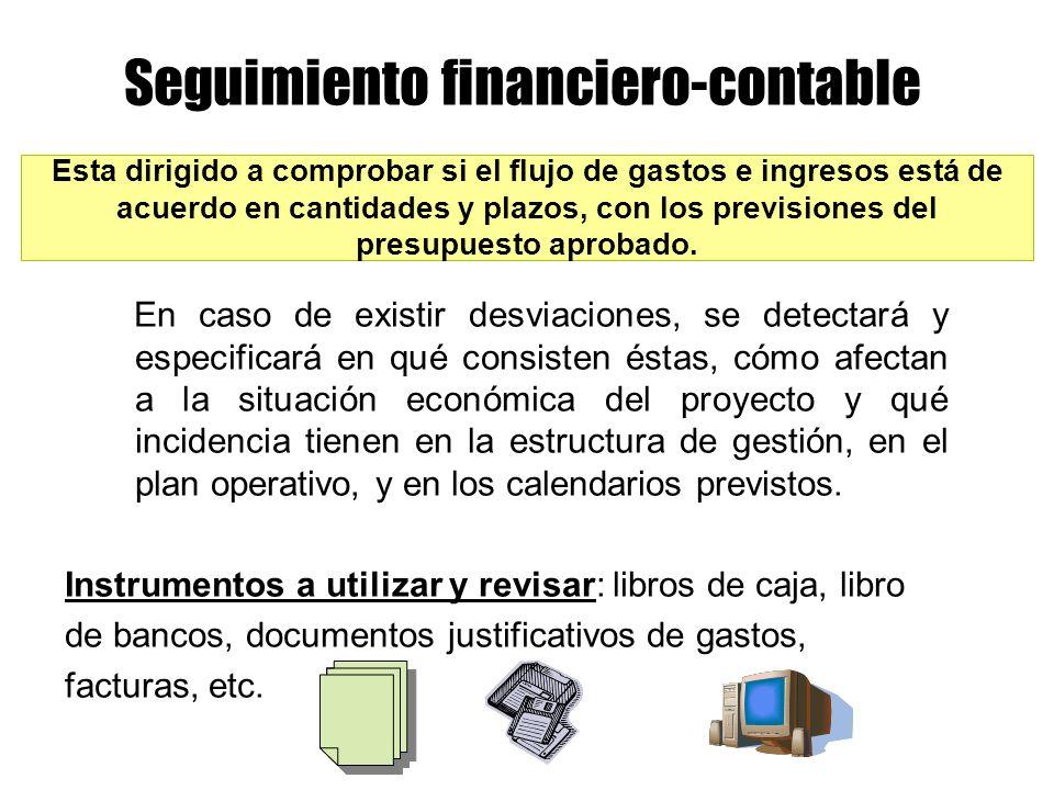 Seguimiento financiero-contable Esta dirigido a comprobar si el flujo de gastos e ingresos está de acuerdo en cantidades y plazos, con los previsiones