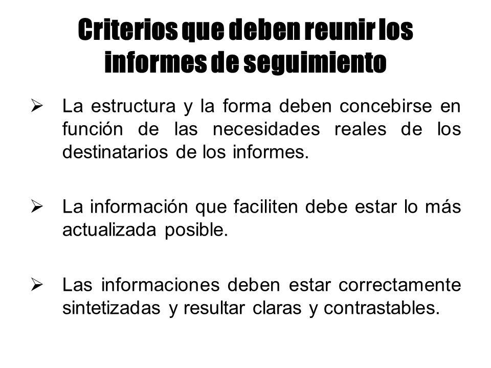 Criterios que deben reunir los informes de seguimiento La estructura y la forma deben concebirse en función de las necesidades reales de los destinata