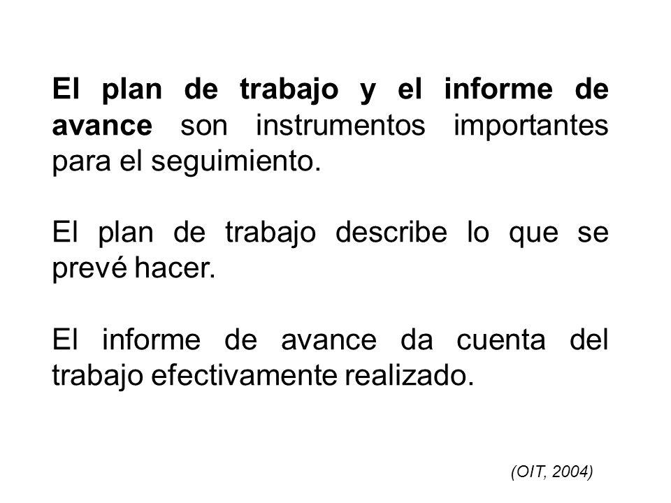 El plan de trabajo y el informe de avance son instrumentos importantes para el seguimiento. El plan de trabajo describe lo que se prevé hacer. El info