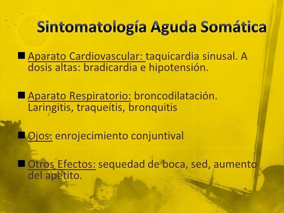 Aparato Cardiovascular: taquicardia sinusal. A dosis altas: bradicardia e hipotensión. Aparato Respiratorio: broncodilatación. Laringitis, traqueítis,