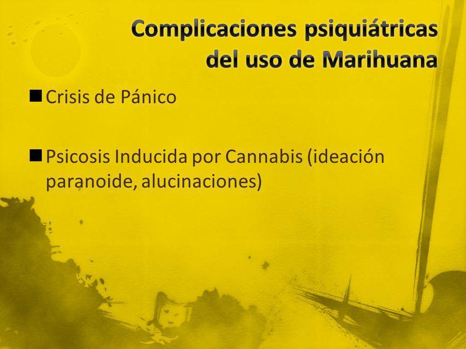 Crisis de Pánico Psicosis Inducida por Cannabis (ideación paranoide, alucinaciones)