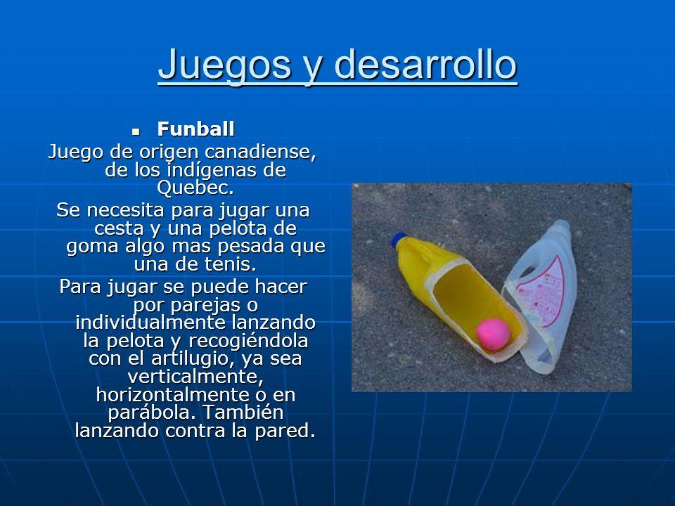Juegos y desarrollo Funball Funball Juego de origen canadiense, de los indígenas de Quebec. Se necesita para jugar una cesta y una pelota de goma algo