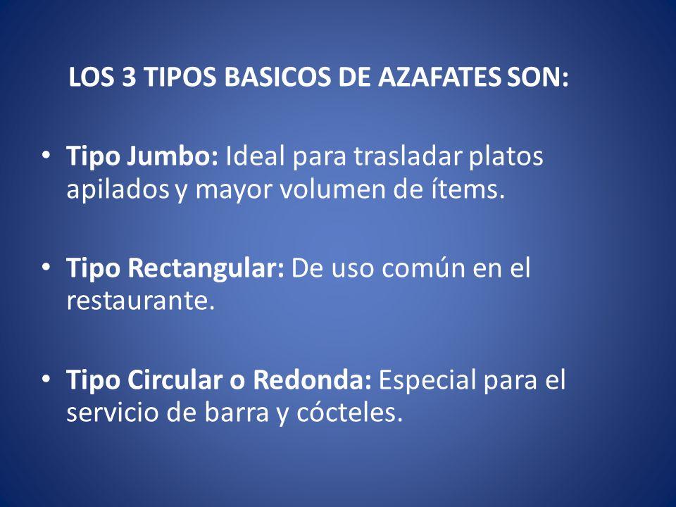 LOS 3 TIPOS BASICOS DE AZAFATES SON: Tipo Jumbo: Ideal para trasladar platos apilados y mayor volumen de ítems. Tipo Rectangular: De uso común en el r