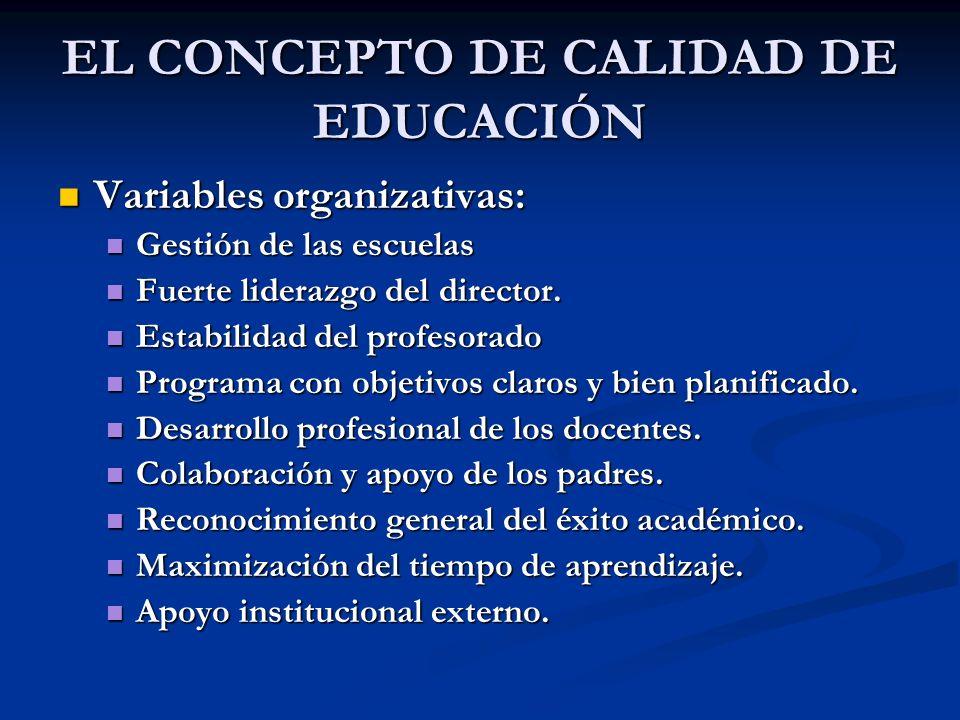 EL CONCEPTO DE CALIDAD DE EDUCACIÓN Variables organizativas: Variables organizativas: Gestión de las escuelas Gestión de las escuelas Fuerte liderazgo