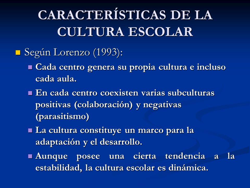CARACTERÍSTICAS DE LA CULTURA ESCOLAR Según Lorenzo (1993): Según Lorenzo (1993): Cada centro genera su propia cultura e incluso cada aula. Cada centr