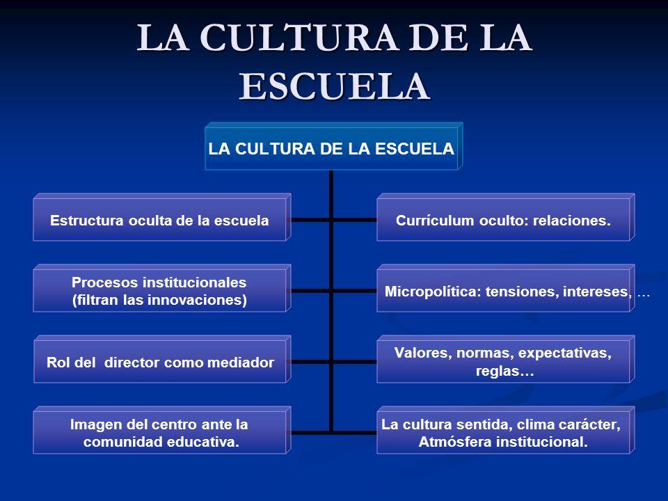 LA CULTURA DE LA ESCUELA Estructura oculta de la escuela Currículum oculto: relaciones. Procesos institucionales (filtran las innovaciones) Micropolít