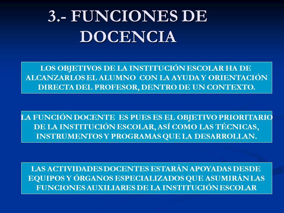 3.- FUNCIONES DE DOCENCIA LOS OBJETIVOS DE LA INSTITUCIÓN ESCOLAR HA DE ALCANZARLOS EL ALUMNO CON LA AYUDA Y ORIENTACIÓN DIRECTA DEL PROFESOR, DENTRO