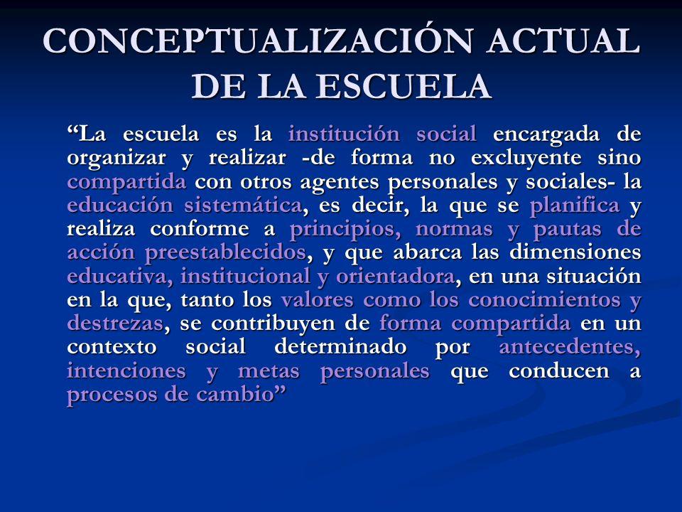 CONCEPTUALIZACIÓN ACTUAL DE LA ESCUELA La escuela es la institución social encargada de organizar y realizar -de forma no excluyente sino compartida c