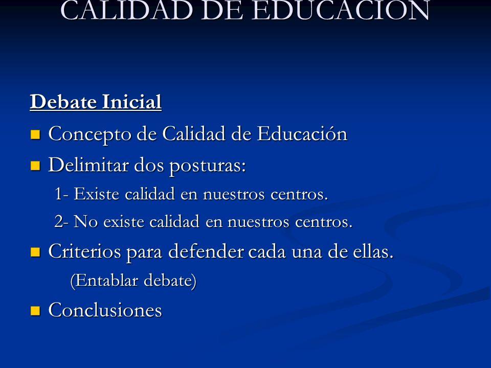 CALIDAD DE EDUCACIÓN Debate Inicial Concepto de Calidad de Educación Concepto de Calidad de Educación Delimitar dos posturas: Delimitar dos posturas: