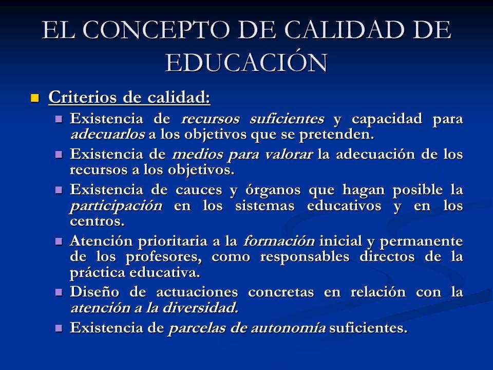 EL CONCEPTO DE CALIDAD DE EDUCACIÓN Criterios de calidad: Criterios de calidad: Existencia de recursos suficientes y capacidad para adecuarlos a los o