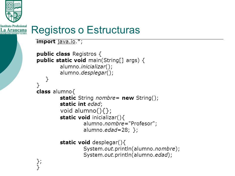 Registros o Estructuras Registros cuando se utilizan 1.En Estructuras de Datos 2.En Archivos Planos 3.En Bases de Datos