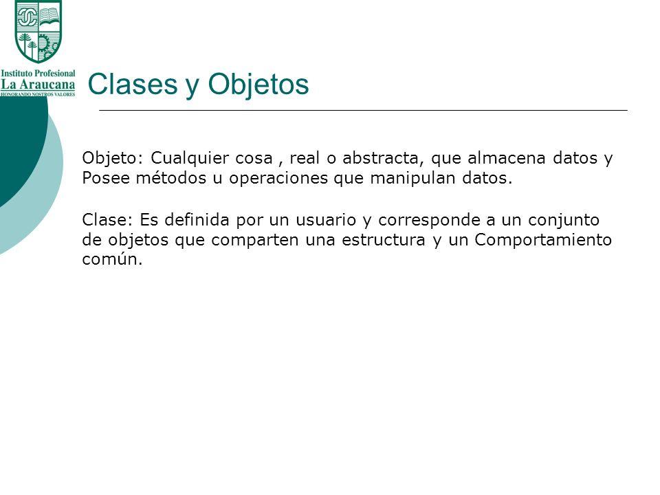 Clases y Objetos Declaración de una Clase Formato Class NombreClase{ lista_de_miembros; }; Nombre definido por el usuario que identifica la clase(puede incluir letras, números y subrayados) Métodos y datos miembros de la clase
