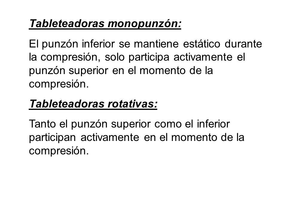 Tableteadoras monopunzón: El punzón inferior se mantiene estático durante la compresión, solo participa activamente el punzón superior en el momento d