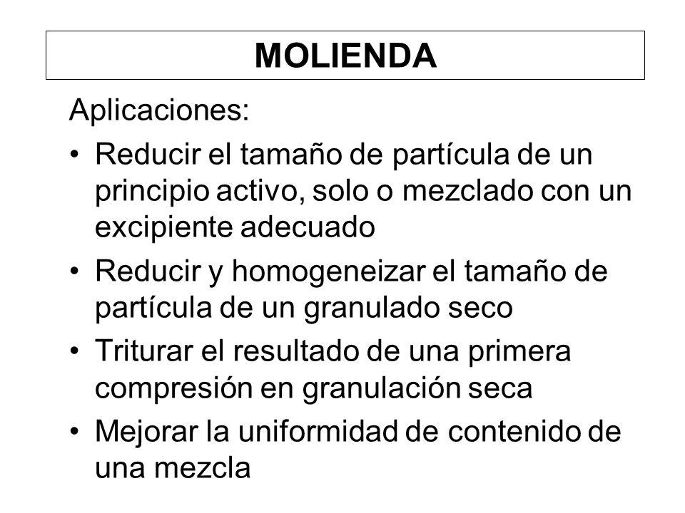 MOLIENDA Aplicaciones: Reducir el tamaño de partícula de un principio activo, solo o mezclado con un excipiente adecuado Reducir y homogeneizar el tam