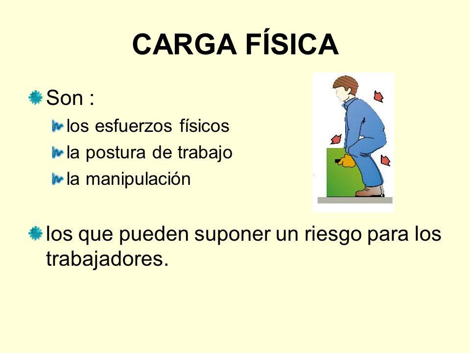 CARGA FÍSICA Son : los esfuerzos físicos la postura de trabajo la manipulación los que pueden suponer un riesgo para los trabajadores.
