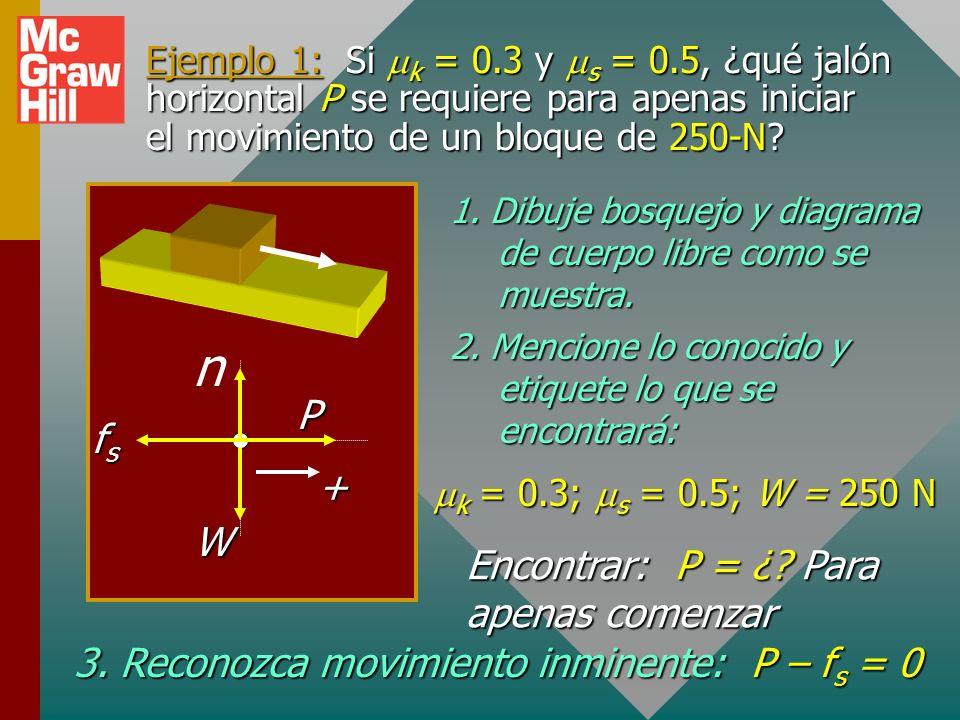 Fricción y aceleración Cuando P es mayor que el máximo f s la fuerza resultante produce aceleración. Note que la fuerza de fricción cinética permanece