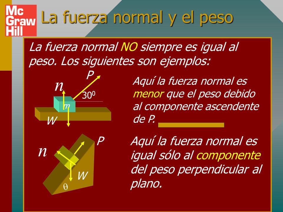 Ejemplo 1 (cont.): Si k = 0.3 y s = 0.5, ¿qué jalón horizontal P se requiere para mover con rapidez constante? (Superar fricción cinética) F y = m a y