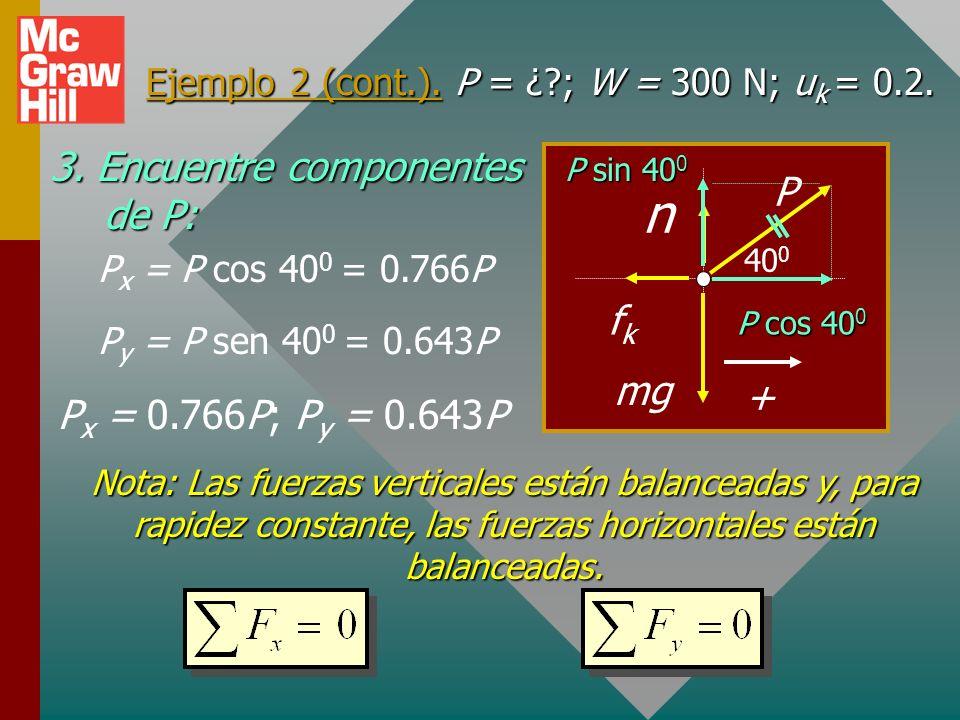 m Ejemplo 2. Una fuerza de 60 N arrastra un bloque de 300-N mediante una cuerda a un ángulo de 40 0 sobre la superficie horizontal. Si u k = 0.2, ¿qué