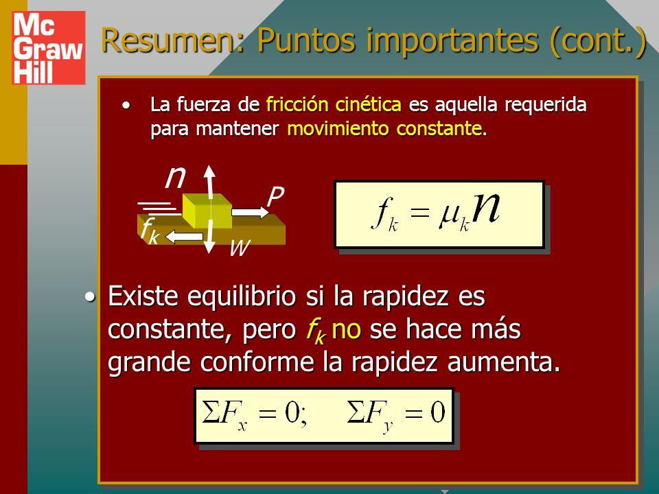 Resumen: Puntos importantes a considerar cuando resuelva problemas de fricción. La fuerza máxima de fricción estática es la fuerza requerida para apen
