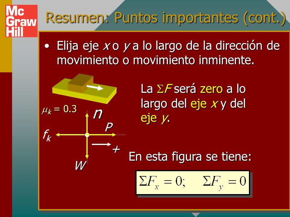 Resumen: Puntos importantes (cont.) La fuerza de fricción cinética es aquella requerida para mantener movimiento constante.La fuerza de fricción cinét