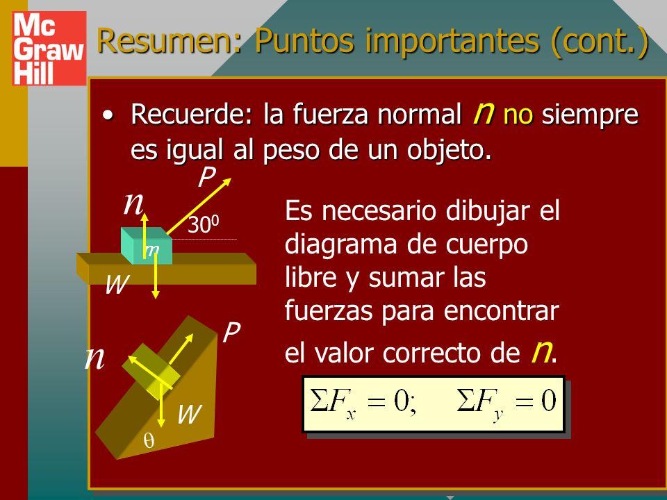 Resumen: Puntos importantes (cont.) Elija eje x o y a lo largo de la dirección de movimiento o movimiento inminente.Elija eje x o y a lo largo de la d
