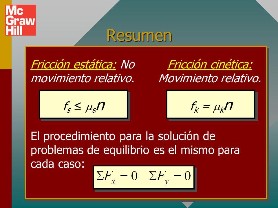 Resumen: Puntos importantes (cont.) Recuerde: la fuerza normal n no siempre es igual al peso de un objeto.Recuerde: la fuerza normal n no siempre es i